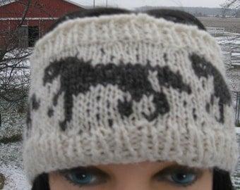 HeadBand for Women and Girls, Horse Lovers Winter Ear Warmer, Fair Isle Knit