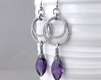 Long Purple Earrings Amethyst Earrings Silver Hoop Earrings Sterling Silver Jewelry Unique Handmade Jewelry - Aria