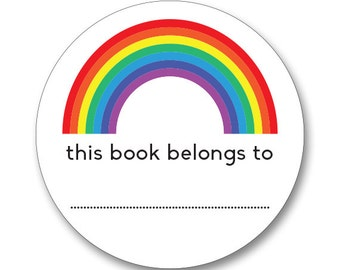 Rainbow stickers - 12 x Rainbow stickers, back-to-school, labels, bookplate