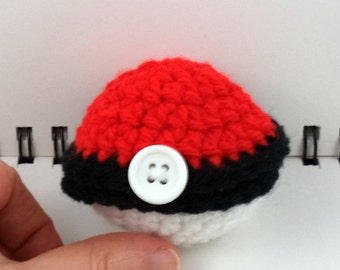 Crocheted Hinged Monster Catching Ball - Red (small)