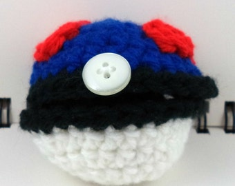 Crocheted Hinged Monster Catching Ball - Blue (small)