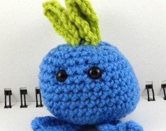 Crocheted Plush Blue Radish Monster