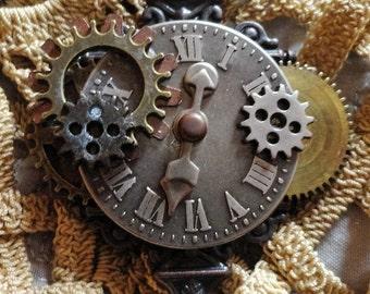 Steampunk Brooch Pin Badge Hat Pin Lapel Pin Shawl Pin Copper Brass Compass Gears
