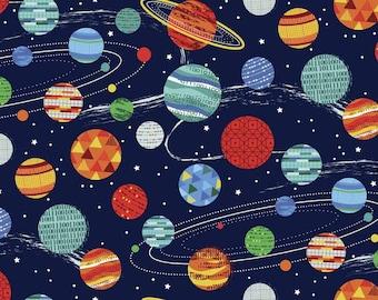 Makower UK Galaxy Planets on Blue, 1 Yard