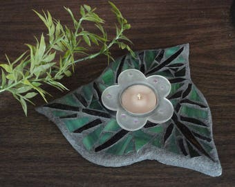 Stained Glass Mosaic, Leaves, Floating Pond Art Sculpture, Water Garden Art, Glass Flower Candle Tea Light Holder, Home Decor, Garden Decor