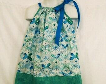 Girls Aqua Butterfly Pillowcase Dress,  Girls Clothing, Baby Girls Dress, Toddler Girls Dress, handmade, USA Made, #9