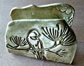 Ceramic Kitchen Sponge Holder Business Card Holder Sage green Bird