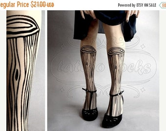 SALE//17%off// Wooden Legs TATTOO gorgeous thigh-high stockings Ultra Pale