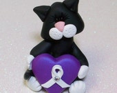 custom order reserved for Joy: kitten with cancer ribbon