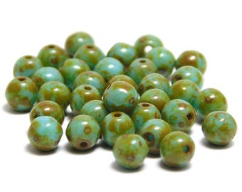 Round Beads - 4mm Beads - Czech Picasso Beads - Czech Glass Beads - Turquoise Picasso - 35pcs (5023)