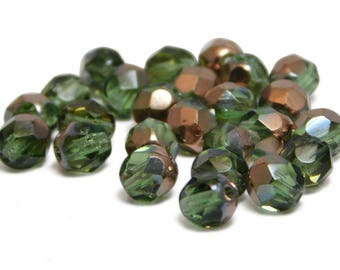Fire Polished Beads - 6mm - Olivine - Green Beads - Czech Glass Beads - Wrap Bracelet Beads - Faceted Round - 25pcs (276)