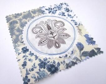 Fabric Patch, Quilt Block, Applique - Lotus