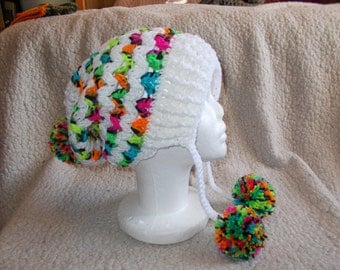 Ziggy Zag Slouchy Pom Pom Hat-Vixen Beanie-Adult Size-Winter Hat-Rainbow-Mega PomPoms