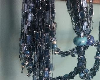 Beaded Trellis Lariat-like Necklaces, Shades of Blue