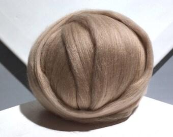 Light Brown Merino Wool Roving, Needle Felting wool, Spinning Fiber, beige, tan, buff, taupe, neutral, Cafe au Lait roving