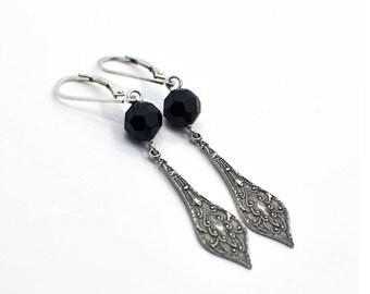 Ornate Earrings, Long Earrings, Black Earrings, Silver Earrings, Pretty Earrings, Dangle Earrings, Teardrop Earrings, Drop Earring - BRINLEY