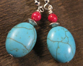 SALE Turquoise stone, fossilized dinosaur bone and silver handmade earrings