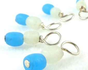 Arctic Blue Droplet Stitch Markers for Knitting or Crochet (Choose Your Size - Set of 10)
