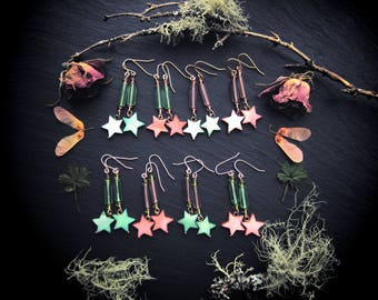 FLOWER MAGICK czech glass and mother of pearl star flower earrings beltane springtime magic limited edition