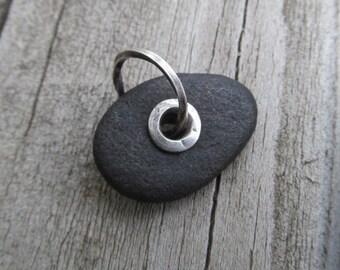Riveted Beach Stone Charm Silver Riveted Beach Stone Pendant Sterling Silver Rivet Black  Beach stone Charm