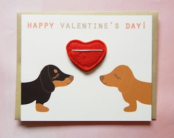 Valentine's or Galentine's Day Dachshunds Dogs Heart Felt Applique Magnet Note Card with Envelope