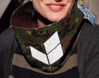 Neckwarmer scarf - pixel camouflage with brown fleece lining - for women - white chevron design - cowl