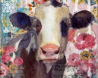cow art | cow painting | mixed media collage | animal art | farm animal art PRINT | country decor