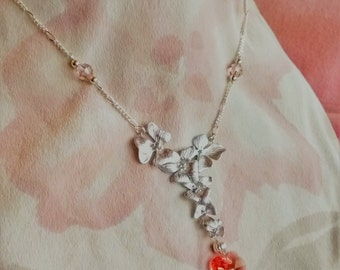 Floral Silver Heart Necklace - Free Shipping