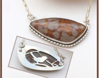 Noreena Jasper Bar Necklace, Artisan Metalsmith Bib Necklace Bird Lover Gift Silversmith Sterling Silver Necklace,  Adjustable Necklace