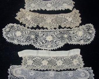 Vintage  Irish Crochet Hand Made Trim  Applique Pieces Ecru Floral Craft Doll Clothes Costume Doll Upcycle