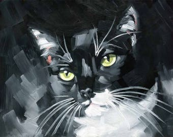 Original 16x20 Tuxedo Cat Oil Painting by Diane Irvine Armitage - Cat Art - Cat Painting - Black and White Cat Painting