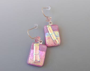 Pink and Gold Glass Earrings, French Hook Earrings, Dichroic Fused Glass Drop Earrings, Dichroic Dangle Earrings, Rectangle Earrings