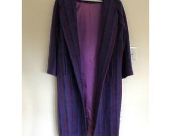 100% Mohair Purple Full Length Coat XL