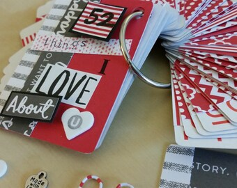 52 reasons I love you card album / 52 things I love about you / Valentine's Day or anniversary gift for husband, wife, significant other