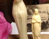 Vintage Virgin Mary Statues Lot Set of Two Plastic Miniature Prayer Shrine Figures Figurines Catholic