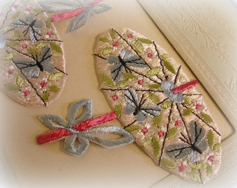 vintage embroidered appliques satin stitch rayon umbrellas pastel pink umbrella with pastel blue butterflies and bow
