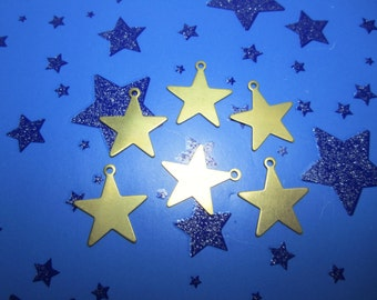 Flat Star Charms,14mm Brass Star, Double Sided, Patriotic Supplies, Celestial Supplies x 6