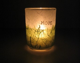 Illuminated Earth Light - HOPE - candle, candle holder, handmade paper, white and green, word, decorative, home décor, modern, ooak, gift