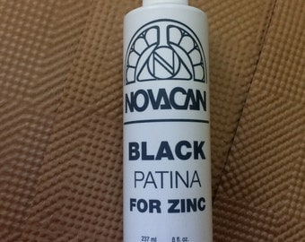 8 oz. Novacan BLACK Patina for ZINC ~ Use to Change Zinc Metal to Black.  This is an excellent black patina for Zinc.