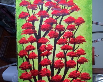 Original Acrylic painting, Red Forest,TREE painting, Home decor