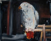 Original Oil Painting The Parrot in the Hipster's Loft