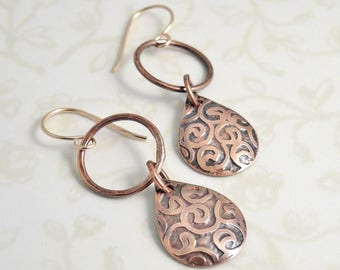 Etched Copper Earrings - Copper Drop Earrings -  Curlicue Pattern