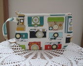 Vintage Camera Bag Small Clutch Wristlet Zipper Gadget Pouch Camera Bag