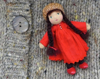 Crimson Waldorf  Doll Pin