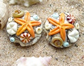 Seafloor Pair with Orange Starfish - Set of 2 Ocean Themed Lentil Beads - SRA Handmade Lampwork
