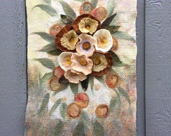 No.24 Peach Floral - Wet felted wall hanging