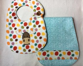 Moose Infant Bib and Burp Cloth Gift Set