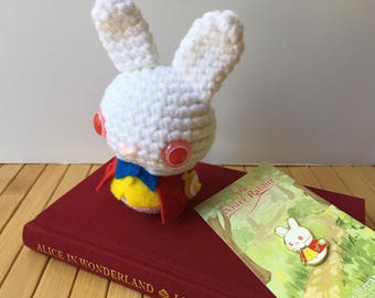 The White Rabbit Moon Bun and Enamel Pin Discount Set - Amigurumi Bunny Rabbit Doll and Badge - Alice's Adventures in Wonderland
