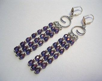 Purple Chandelier Earrings Crystal Earrings in Silver Shoulder Dusters Blue Lilac Leverback hooks Gifts under 5