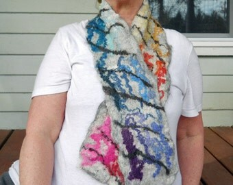 Grey rainbow felted wool scarf or wrap,multi colored woolen wet felted collectible neck wrap, winter clothing, designer accessories